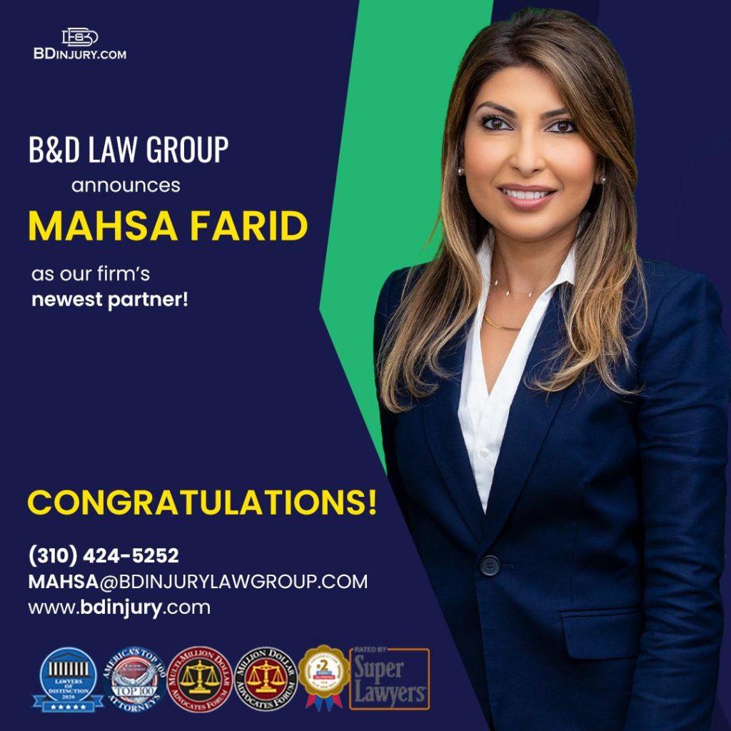 B&D Law Group Names Mahsa Farid, Esq. as Newest Partner!